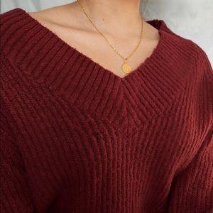Garage V Neck Burgundy Sweater